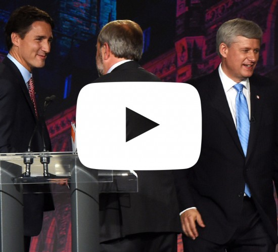Liberal leader Justin Trudeau, left, NDP leader Tom Mulcair and Conservative leader Stephen Harper, right, shake hands after the Globe and Mail  leaders' debate Thursday, September 17, 2015  in Calgary.THE CANADIAN PRESS/Sean Kilpatrick